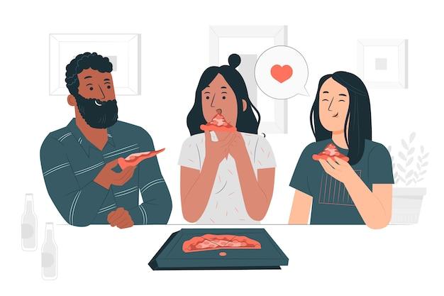 Ilustracja koncepcja udostępniania pizzy