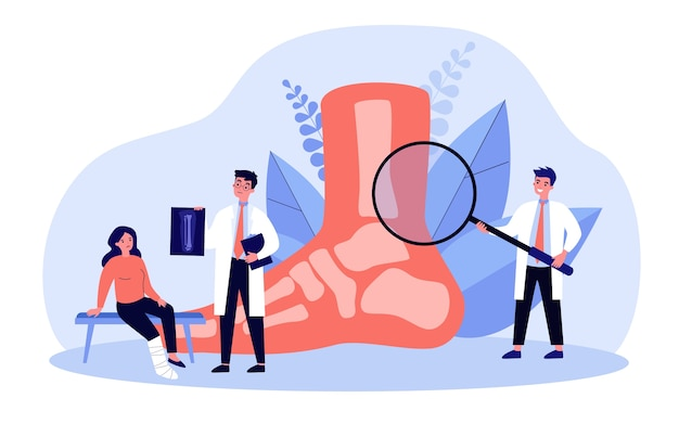 Ilustracja koncepcja urazu stopy lub palca