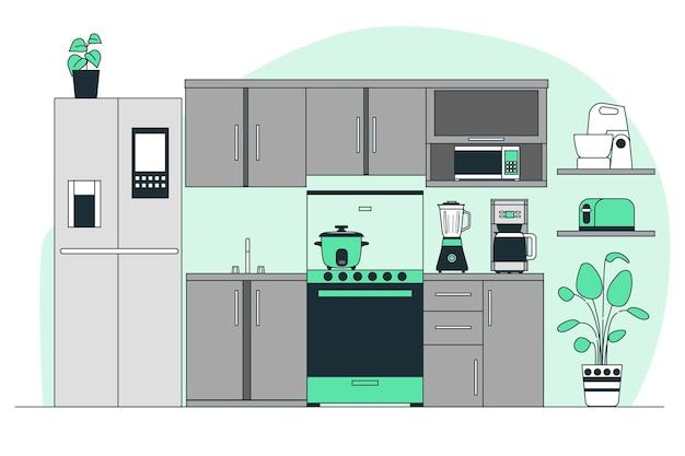 Ilustracja koncepcja urządzeń kuchennych