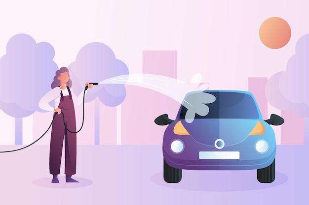 Ilustracja koncepcja usługi płaskiej myjni samochodowej