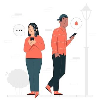 Ilustracja koncepcja użytkownika mobilnego
