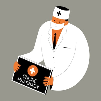 Ilustracja koncepcja wektorowa apteki internetowej z lekarzem i tabletem.