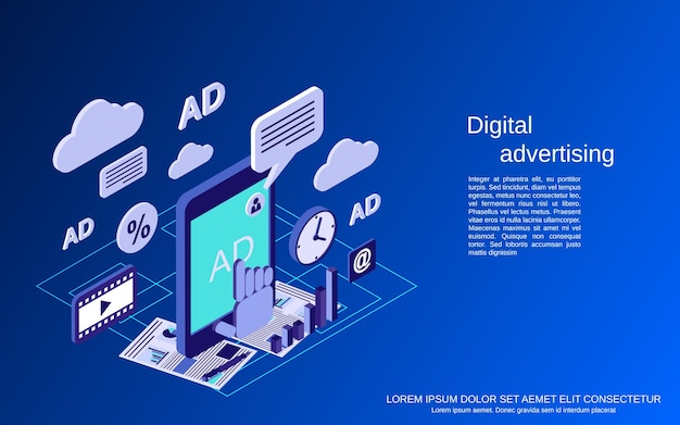 Ilustracja koncepcja wektorowa płaskiej izometrycznej reklamy cyfrowej