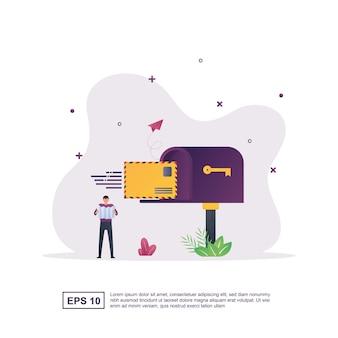 Ilustracja koncepcja wiadomości z osobą, która umieściła list w skrzynce pocztowej.