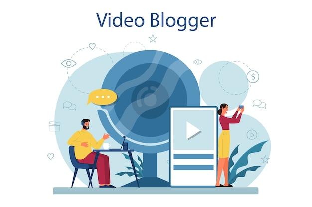 Ilustracja koncepcja wideo blogera
