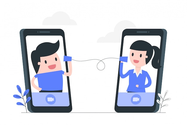 Ilustracja koncepcja wideokonferencji.