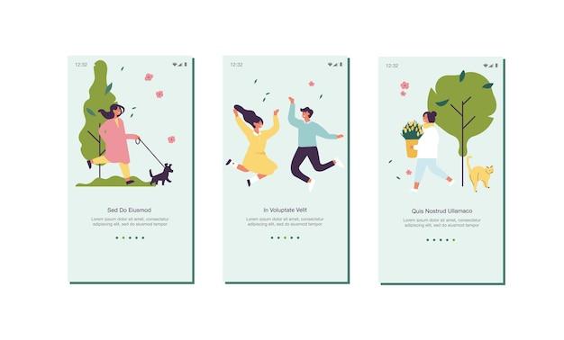 Ilustracja koncepcja wiosny na ekranie pokładowym strony internetowej lub aplikacji mobilnej