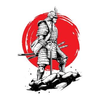 Ilustracja koncepcja wojownika samuraja