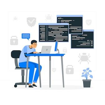 Ilustracja koncepcja wpisywania kodu