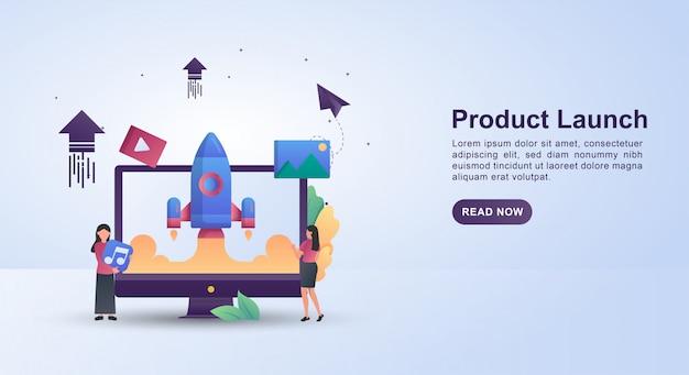 Ilustracja koncepcja wprowadzenia produktu na rynek z rakietą szybującą.