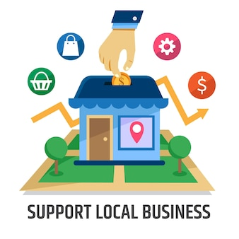 Ilustracja koncepcja wsparcia lokalnego biznesu
