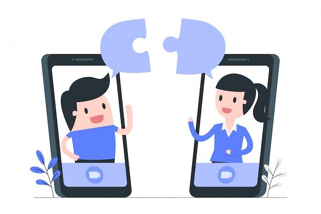Ilustracja koncepcja współpracy i pracy zespołowej online.