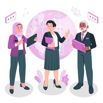 Ilustracja koncepcja współpracy międzynarodowej