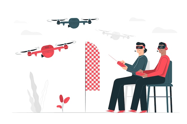 Ilustracja koncepcja wyścig dronów