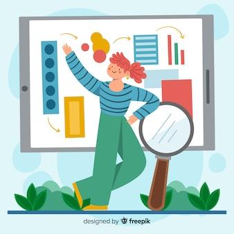 Ilustracja koncepcja wyszukiwania kreskówka