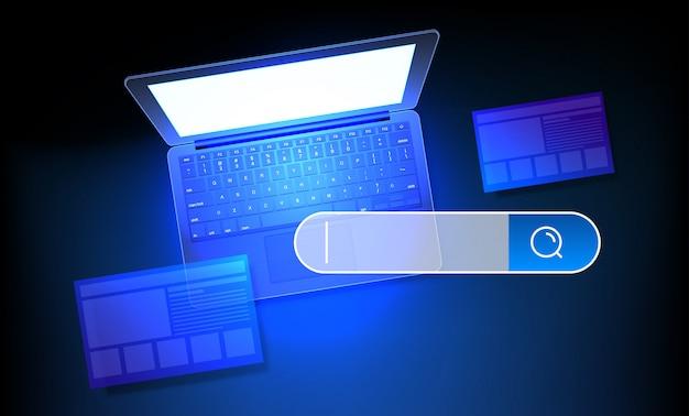Ilustracja koncepcja wyszukiwania w internecie. nowoczesny laptop z błyszczącym ekranem