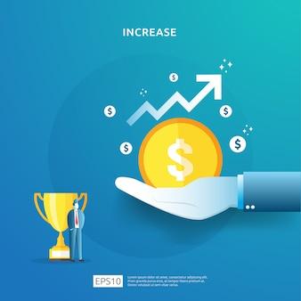 Ilustracja koncepcja wzrostu stawki wynagrodzenia z postaciami ludzi i strzałką. wyniki finansowe zwrotu z inwestycji roi. wzrost zysków biznesowych, sprzedaż rośnie marża z symbolem dolara