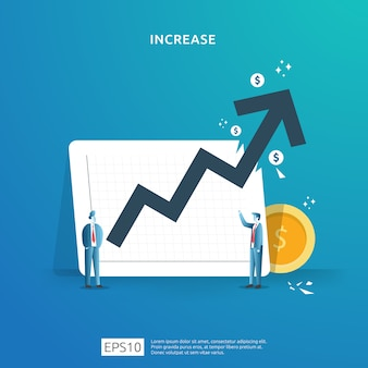 Ilustracja koncepcja wzrostu stawki wynagrodzenia z postaciami ludzi i strzałką. wyniki finansowe zwrotu z inwestycji roi. wzrost zysków biznesowych