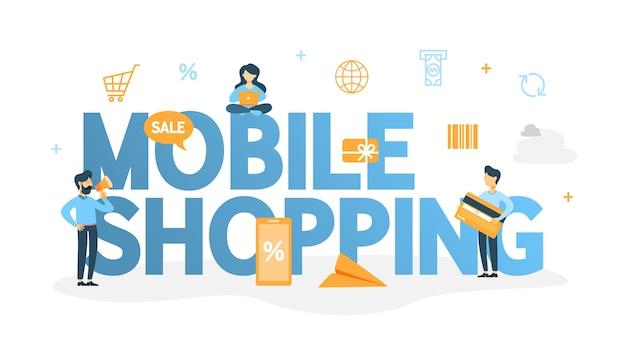Ilustracja koncepcja zakupów mobie