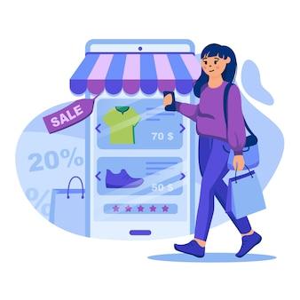 Ilustracja koncepcja zakupów mobilnych z postaciami w płaskiej konstrukcji