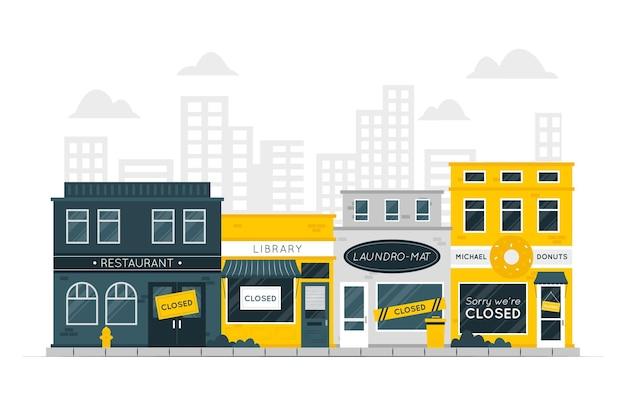 Ilustracja koncepcja zamkniętych sklepów