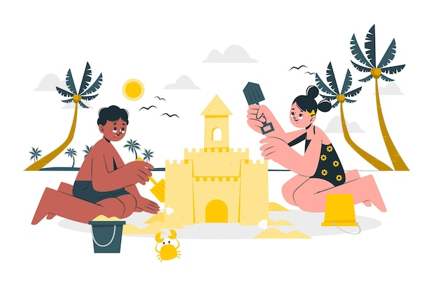 Ilustracja koncepcja zamku z piasku