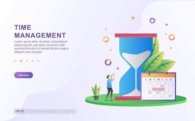 Ilustracja koncepcja zarządzania czasem z dużą klepsydrą i kalendarzem.