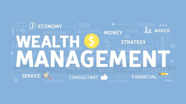 Ilustracja koncepcja zarządzania dobrobytem. idea oszczędności i inwestycji.