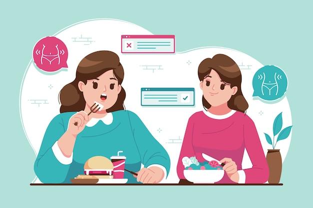 Ilustracja koncepcja zdrowej i niezdrowej żywności