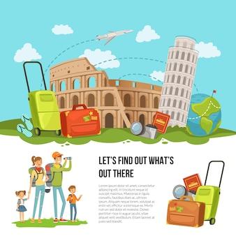 Ilustracja koncepcja ze stosu włoskich zabytków, bagażu i innych elementów podróży z szczęśliwą rodziną z dwójką dzieci i miejsce na tekst