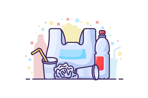 Ilustracja koncepcja zero odpadów. plastikowe śmieci niebezpieczeństwo. torba, butelka, naczynia jednorazowe. wektor