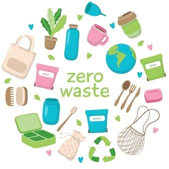 Ilustracja koncepcja zero odpadów z różnych elementów i napisów
