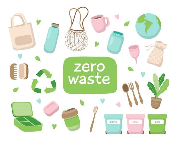 Ilustracja koncepcja zero odpadów z różnych elementów.