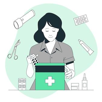 Ilustracja koncepcja zestawu pierwszej pomocy