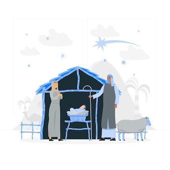 Ilustracja koncepcja żłóbka świątecznego