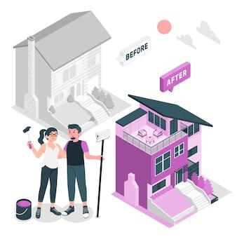 Ilustracja koncepcja zmiany stylizacji domu