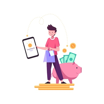 Ilustracja koncepcja zwrotu pieniędzy