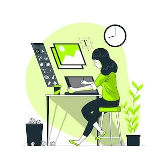 Ilustracja koncepcja życia projektanta