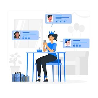 Ilustracja koncepcja życzeń online