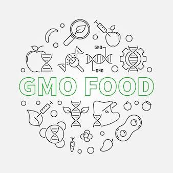 Ilustracja koncepcja żywności gmo okrągły w stylu konspektu