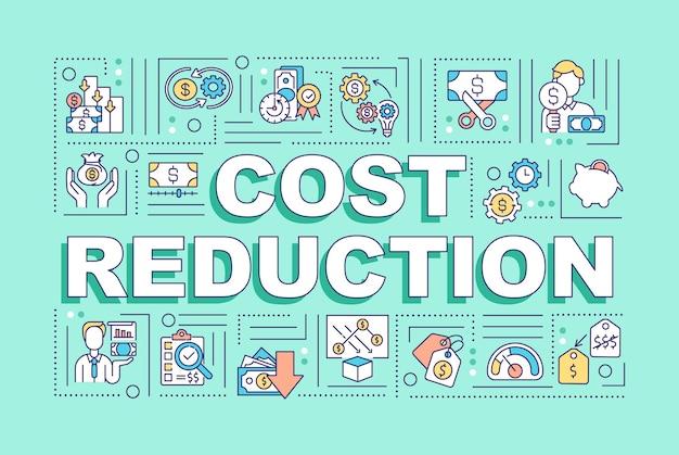 Ilustracja koncepcje słowo redukcji kosztów