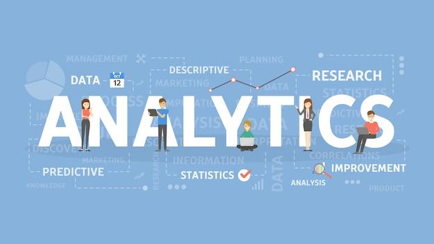Ilustracja koncepcji analytics. pojęcie analizy, danych i informacji.
