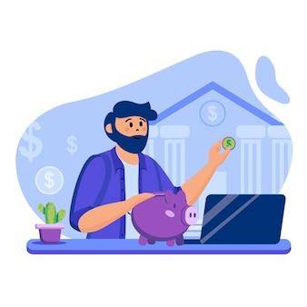 Ilustracja koncepcji bankowości internetowej z postaciami w płaskiej konstrukcji