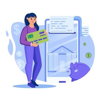 Ilustracja koncepcji bankowości mobilnej z postaciami w płaskiej konstrukcji