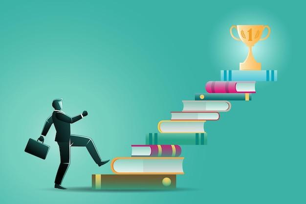 Ilustracja koncepcji biznesowej, biznesmen chodzący po drabinie książki, aby zdobyć trofeum