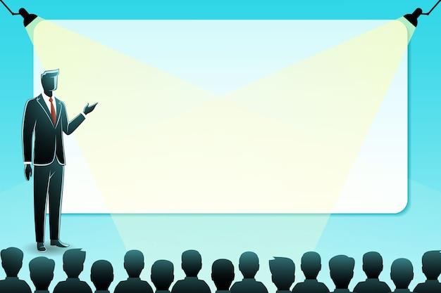 Ilustracja koncepcji biznesowej, biznesmen dokonywania prezentacji