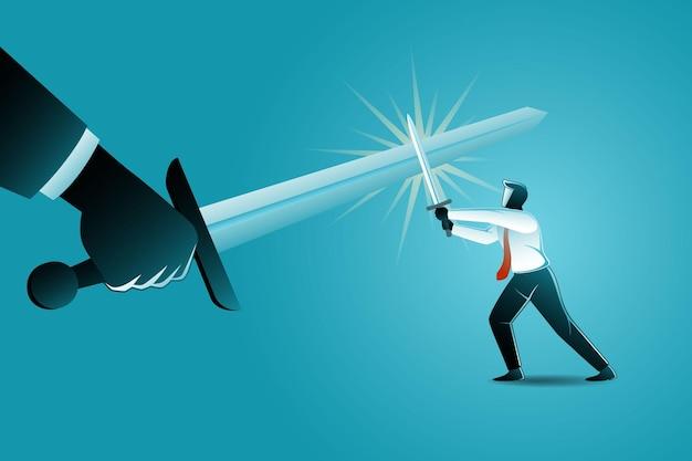 Ilustracja koncepcji biznesowej, biznesmen konfliktu z gigantyczną ręką używającą miecza