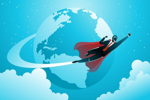 Ilustracja koncepcji biznesowej. biznesmen latający dookoła świata