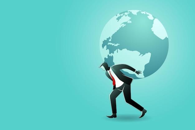 Ilustracja koncepcji biznesowej. biznesmen niosący kulę ziemską na plecach