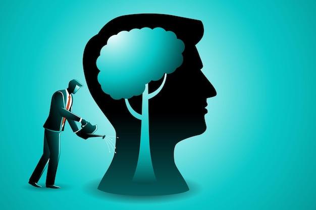 Ilustracja koncepcji biznesowej, biznesmen podlewający mózg drzewa w gigantycznej głowie